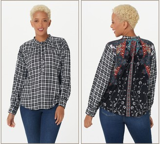Tolani Collection Plaid Top with Printed Velvet
