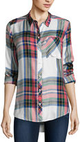 Arizona Long Sleeve Boyfriend Plaid Shirt-Juniors