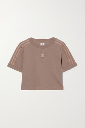 adidas Cropped Metallic-striped Cotton-jersey T-shirt - Brown