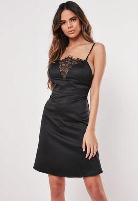 Missguided Black Satin Lace Insert Skater Dress