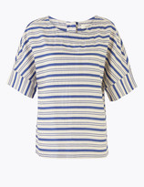 Per Una UsMarks and Spencer Cotton Striped Relaxed Short Sleeve Top