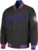 G Iii Men's G-III Sports by Carl Banks Gray Chicago Cubs Game Ball Full-Snap Varsity Jacket