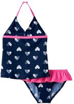 Osh Kosh Girls 4-6x Heart Printed Halter Tankini Top & Bottoms Swimsuit Set