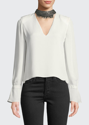 Ramy Brook Annete Embellished Silk Bell-Sleeve Top