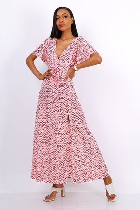 Lilura London Wrap Front Split Leg Maxi Dress In White Daisy Dot Print