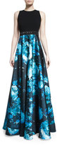 Carmen Marc Valvo Sleeveless Wool & Floral Satin Combo Gown, Black/Turquoise
