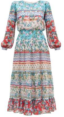 Saloni Isabel Floral-print Silk Midi Dress - Womens - Blue Multi