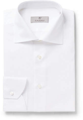 Canali White Slim-Fit Slub Cotton And Linen-Blend Shirt