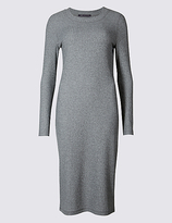 M&S Collection Ribbed Cosy Tube Long Sleeve Midi Dress