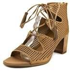 Franco Sarto Honolulu Open-toe Leather Heels.