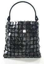 Giorgio Armani Black Velvet Handle Beaded Line Tote Handbag