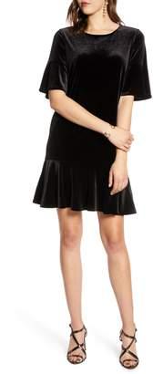 Halogen Ruffle Trim Velvet Dress