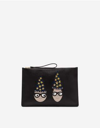 Dolce & Gabbana Large Clutch In Drummed Calfskin With Designers Patches