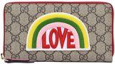 Gucci Love Patch Gg Supreme Zip Around Wallet