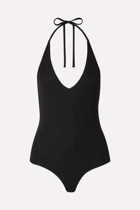 ATM Anthony Thomas Melillo Ribbed Stretch-micro Modal Halterneck Thong Bodysuit - Black