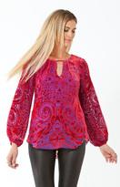 Hale Bob Amabel Silk Velvet Burnout Top In Red