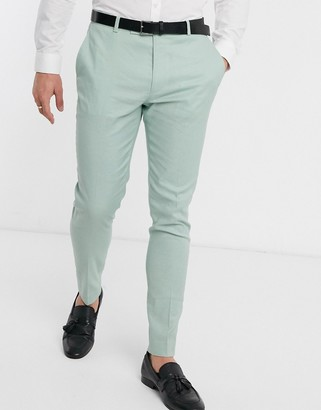 ASOS DESIGN wedding super skinny suit pants in stretch cotton linen in mint green
