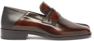 Maison Margiela Tabi Split-toe Leather Penny Loafers - Black Brown
