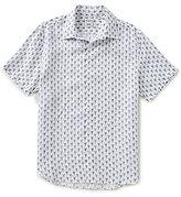Murano Short-Sleeve Southwest Print Linen Shirt
