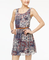 Amy Byer Juniors' Printed Belted A-Line Dress