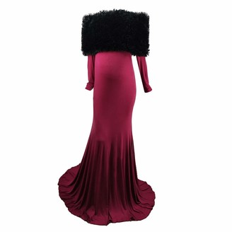 Baohooya Maternity Wrap Shawl Dress Stunning Photography Women Pregnant Dress Ruffle Long Sleeve Maxi Trailing Dresses Photo Shoot Wedding Formal Evening Ball Party Gown Pregnancy Clothes (Wine S)
