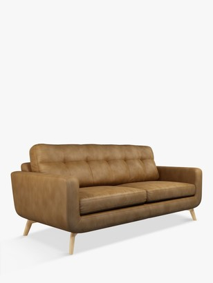John Lewis & Partners Barbican Large 3 Seater Leather Sofa, Light Leg, Demetra Light Tan
