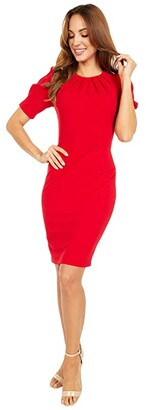 Calvin Klein Short Sleeve Sheath Dress with Pleat Bodice Detail (Red) Women's Dress
