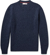 Brunello Cucinelli Ribbed Mélange Virgin Wool, Cashmere And Silk-blend Sweater - Storm blue