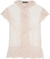 Alexander McQueen Ruffled Lace Shirt - Pastel pink