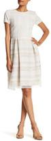 Chetta B Short Sleeve Embroidered Crochet Lace Dress