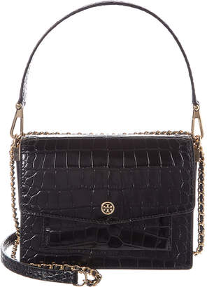Tory Burch Robinson Convertible Croc-Embossed Leather & Suede Shoulder Bag