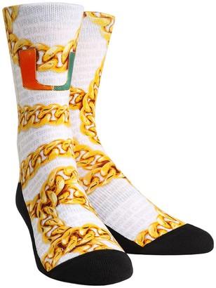 E.m. Unbranded Men's Rock Socks White Miami Hurricanes Localized Graphics Crew Socks