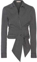 Michael Kors Cropped Checked Cotton-blend Poplin Wrap Shirt - Black