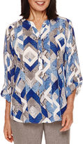 Alfred Dunner Crescent City Long Sleeve Geo Print Blouse