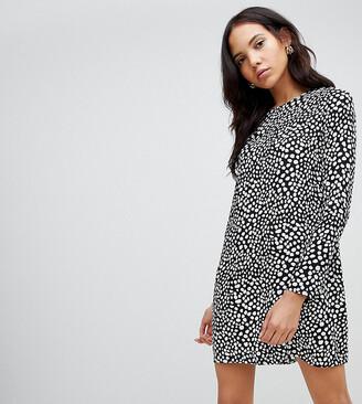 Glamorous Tall long sleeve shirt dress in animal spot print-Black