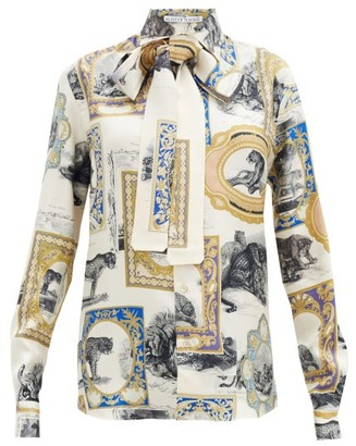 Alister Mackie - Leopard & Frame-print Silk-twill Shirt - Ivory Multi