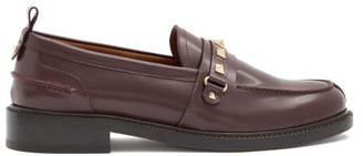 Valentino Rockstud Patent-leather Loafers - Burgundy