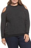 Lucky Brand Plus Size Women's Cold Shoulder Stripe Sweater
