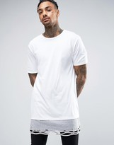 Asos Super Longline T-Shirt With Extreme Distressing And Heavyweight Hem Extender In White And Gray Marl