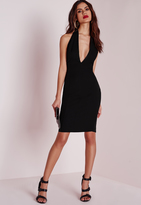 Missguided D Ring Halterneck Midi Dress Black