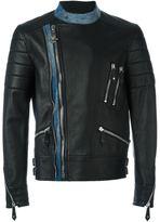Philipp Plein denim panel biker jacket - men - Calf Leather/Cotton/Viscose - L