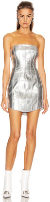 David Koma Corset Leather Strapless Dress in Silver   FWRD
