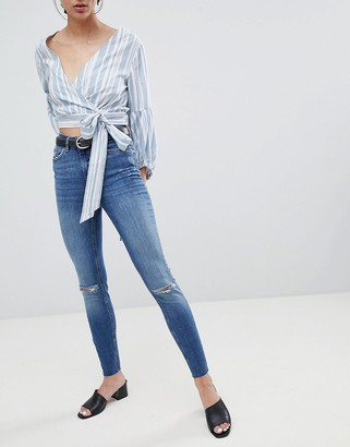 Pieces Five Delly Slashed Knee High Waisted Skinny Jeans-Blue