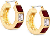 T Tahari Gold-Tone Red and Clear Crystal Hoop Earrings
