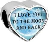 Lucky Brand Mothers Day Charm I Love You To The Moon And Back Heart Charms fit Chamilia Bracelet