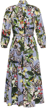 Erdem Adrienne Belted Floral-print Cotton Midi Dress