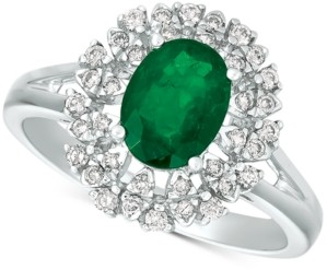 Macy's Emerald (1-1/10 ct. t.w.) & Diamond (1/4 ct. t.w.) Ring in 14k White Gold