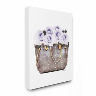 Stupell Industries Purple Flower Purse Glam Fashion Watercolor Design Designed by Amanda Greenwood Wall Art 36 x 1.5 x 48