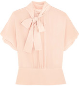 RED Valentino Pussy-bow Silk Crepe De Chine Blouse - Blush