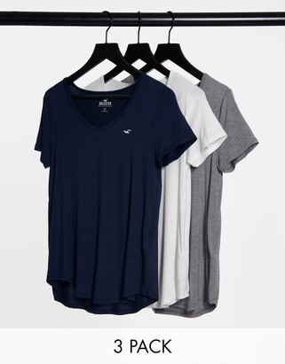 Hollister v neck t-shirt 3-pack in multi